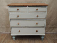 Shabby chic wooden large quality chest of drawers (Delivery)
