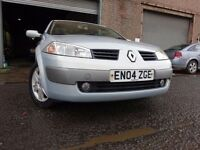 04 RENAULT MEGANE 1.6,CONVERTIBLE,MOT JAN 018,PARTHISTORY,3 OWNER FROM NEW,VERY LOW MILEAGE CAR