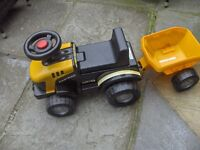 jcb kids tractor and trailor black and yellow age 1 to 3 yrs push along