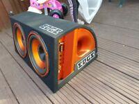 Edge Bass 12 Inch EDB12TA Twin Active Subwoofer Sub Box Enclosure + Amp Kit