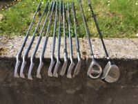 Ping Zing 2 3irion to sand wedge, 3 wood, driver and trolley