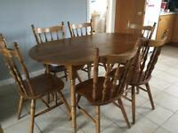 Oval table and six chairs