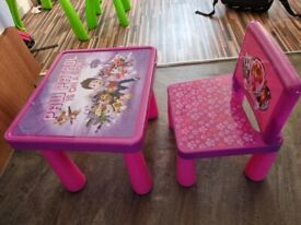 Pink paw patrol table & chair