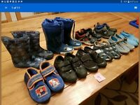 10 pairs of boys infant size 9 shoes wellies, trainers, school shoes PE pumps, fireman sam slippers