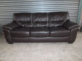 Brown Leather 3-seater Sofa (Suite) with matching Recliner Armchair