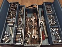 Toolbox and many tools inside (sockets, wrenches and spanners)