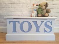 Toy box. Solid pine. Blanket / Ottoman. Annie Sloan white blue