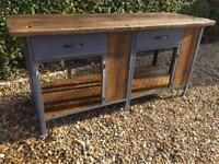 Large Rustic Industrial Kitchen Island Work Bench Station