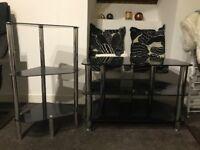 Black Glass/Chrome TV unit and Corner Unit Set