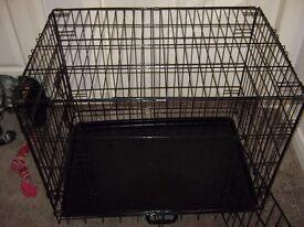 Dog Crate 2 Door Black Metal