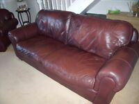 large leather three piece suite good condition