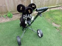 Set of Golf Clubs and Trolley.. Mens R/H