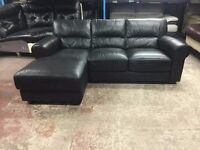 Ex display Genuine three seater chaise lounge in black leather
