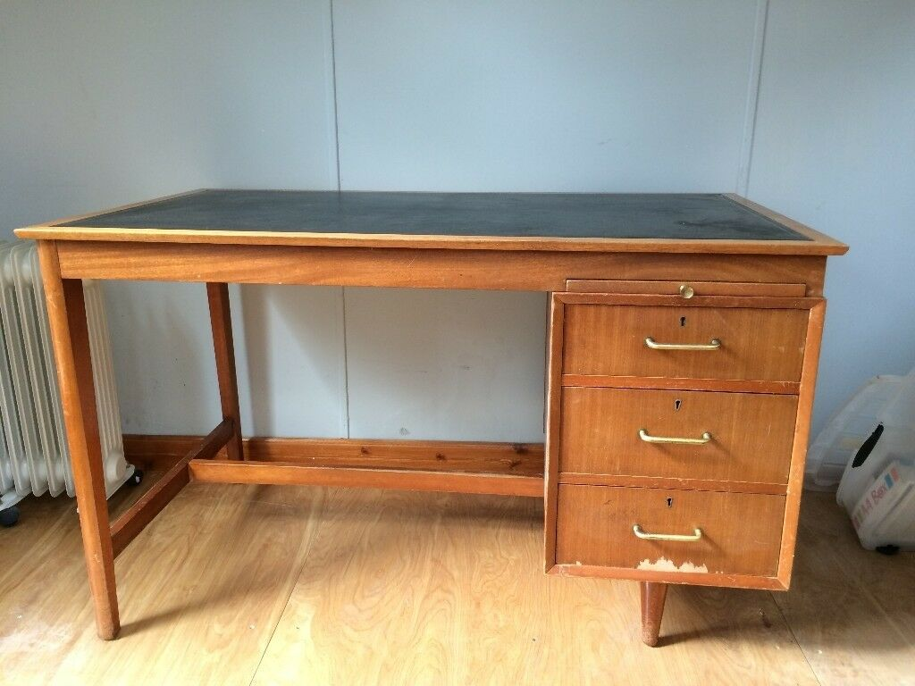 Leather Topped Vintage Office Desk With 3 Drawers