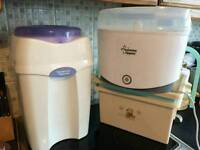 Baby changing box, nappy bin and steriliser
