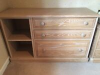 LIMED OAK CHEST OF THREE DRAWS / STORAGE UNIT VERY NICE ITEM FREE LOCAL DELIVERY 07486933766