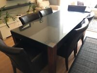 Leather Dining Table and 6 leather chairs