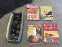Professional hot stones for massage + Massage magazines