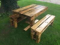 New Handmade Outdoor benches and table