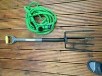 garden hose & fork