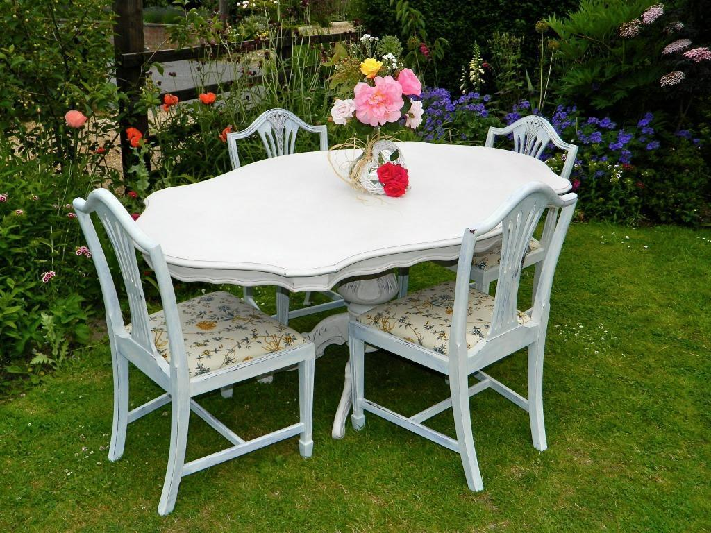 Beautiful shabby chic dining table and 4 chairs in for Beautiful dining table and chairs