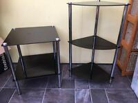 Black glass table and shelves
