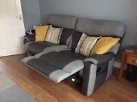 3 seater grey recliner sofa