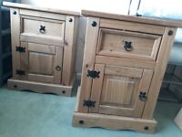 Two solid pine bedside tables