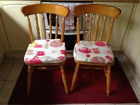 Pair chunky pine kitchen chairs