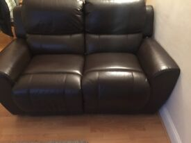 Two piece suite - Brown leather sofas