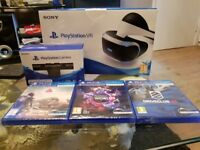 SONY PLAYSTATION VR, CAMERA AND 3 GAMES