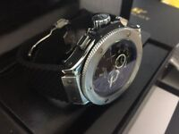 New Swiss Hublot Big Bang Silver Case Automatic Watch, See Through back