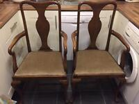 Solid oak carver chairs