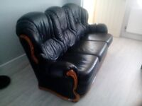Black Leather settee and armchair