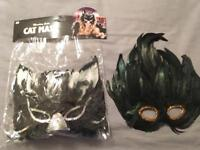 Brand New Unworn Feather Masks Masquerade Halloween Fancy Dress Costume Party Cat Bird