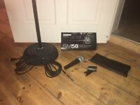 Shure SM58 Microphone, cable and stand