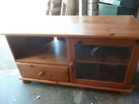 Pine TV , music centre unit or just useful part glass-fronted cupboard