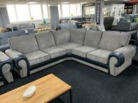 Corner sofa jumbo cord grey with black