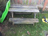 Kids wooden bench