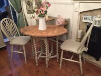 Vintage/shabby chic barley twist table/2 chairs