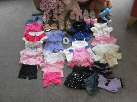 Collection of Build a bears with clothes, shoes, accessaries