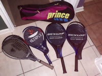 4x Tennis Racquets, with cases, balls and carry bag