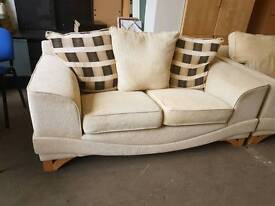 Large modern cream 2 seater sofa with matching armchair