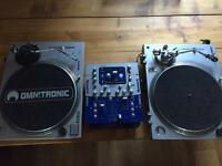 2x direct drive turntables + Numark dxm06 mixer