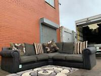 Gorgeous SCS Black & charcoal Corner sofa delivery 🚚 sofa suite couch furniture
