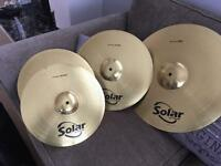 Set of solar sabian cymbals as new