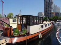 dutch barge liveaboard houseboat with central London residential mooring. Crossrail. DLR. Jubilee