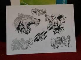 Hand Drawing of werewolfs