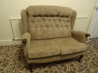 2 Str Sofa Highback, in fabric, arms & wooden legs. Nearly New