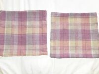 Laura Ashley Tweed Cushion Covers (pair) - Heather & Beige 41cm x 41cm